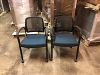 two black metal framed black padded armchairs Woodbridge, 22191