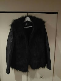 Faux fur and leather stylish coat
