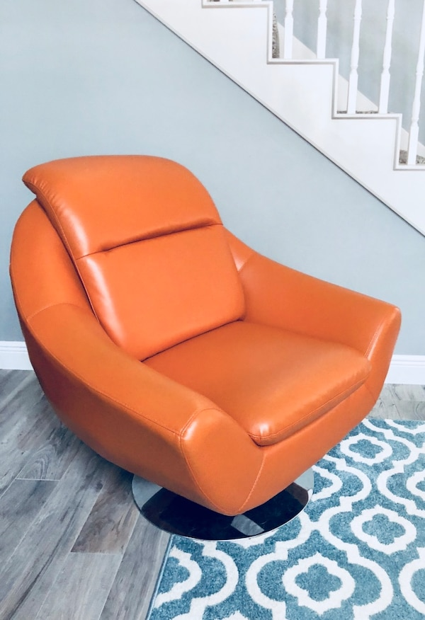 Modern Contemporary Swivel Leather Accent Chair Orange