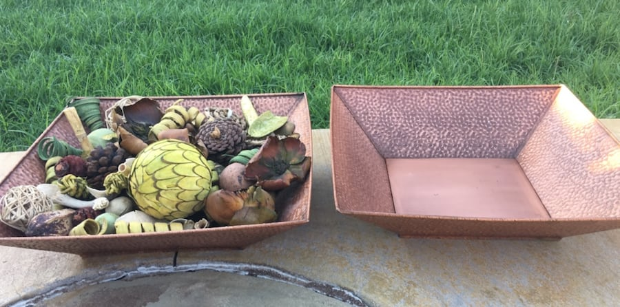 2 Gorgeous Copper Colored Metal Decor Items. Could use as planters!! 2