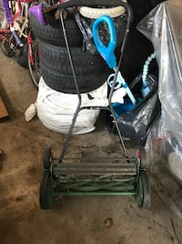 black and blue push mower Toronto, M4M