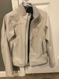 white and gray The North Face full zip jacket