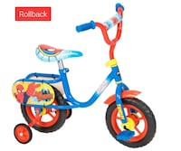 blue and red Spider-man bicycle with training wheels