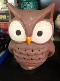 White and brown ceramic owl figurine