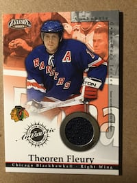 New York Rangers Theoren Fleury Chicago Blackhawks jersey patch card Hamilton, L8S 4A3