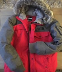 red and gray The North Face zip-up fur-lined parka coat