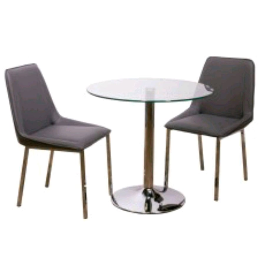 Glass dining table with 2 chairs. New in box.