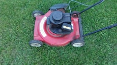 red lawn push mower