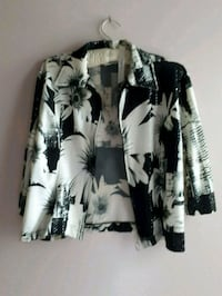 Plus Size Gilani Black and White Floral Jacket   Toronto, M6H 3Y3