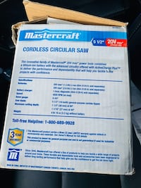 Mastercraft cordless circular saw  Brand new never used