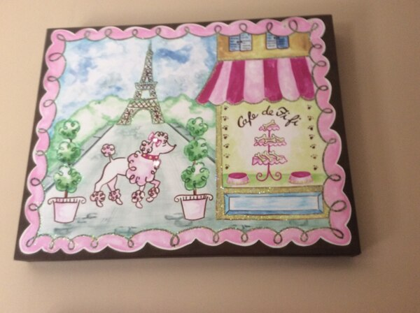 Adorable canvas painting on board with jewel accents of France