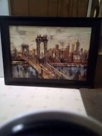 Very large brown wooden framed painting of house Keithville, 71047
