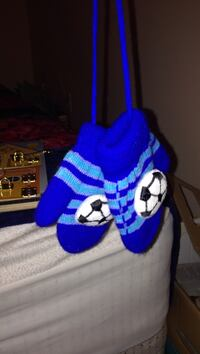 Pair of blue-and-white soccer ball embroidered gloves Halifax, B3M