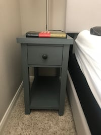 Gray wooden single drawer side table