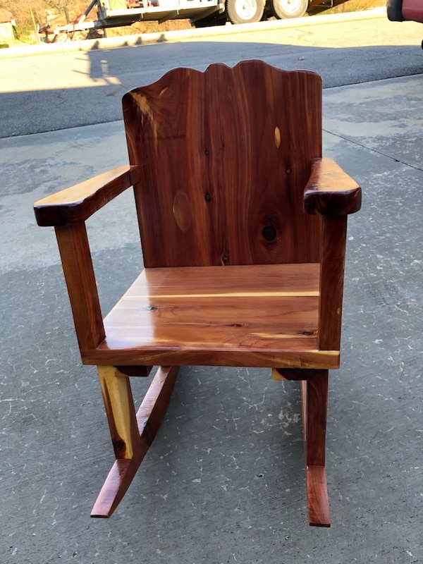 Homemade child's cedar rocking chair
