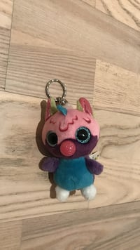 Pink,blue, and white character keychain 787 km
