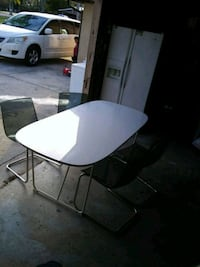 Ikea dining table and chairs.