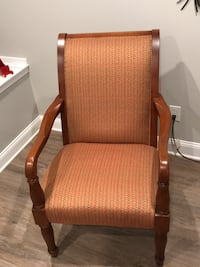 wooden framed padded armchair ( excellent condition )