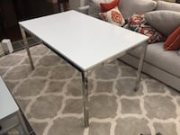 White Table Top Chrome Base . Dinning Table 36inch x 48 inches perfect condition