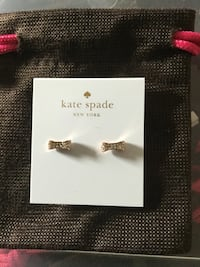gold colored diamond Kate Spade stud earrings