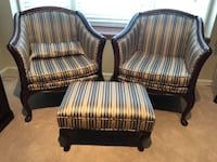 Two Accent chairs, foot stool and 2 pillows and bench