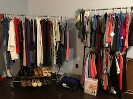 Dresses shirts and pants as well as six pairs of shoes.