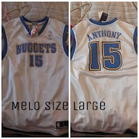 white and blue Anthony Nuggets 15 jersey shirt Deep River, 06417