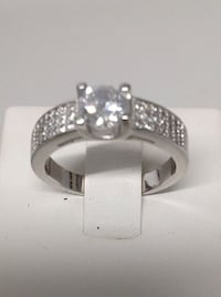 Sterling Silver Diamond CZ Engagement Promise Ring Size 8.5 (383) PADUCAH