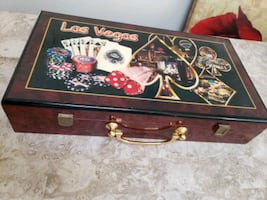Poker Card and chips wooden  box Las Vegas