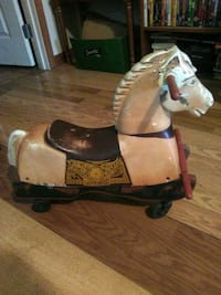 Antique ride on plastic n wood horse Hedgesville