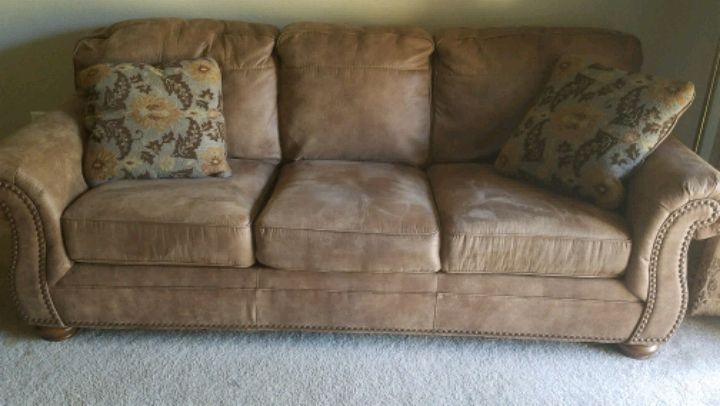 used brown suede sofa with throw pillow for sale in plano letgo rh gb letgo com brown suede sofa chaise brown suede sofa dfs