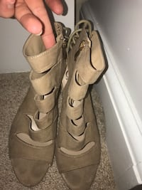 pair of brown suede open toe mid calf high sandals Virginia Beach, 23451
