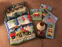 Transportation room decor- 4 pictures- train lamp- 2 blankets-4 wooden train cars Palm Coast, 32137