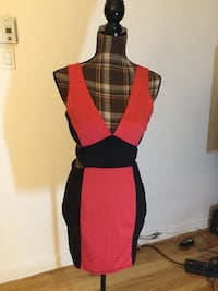 Brand new red and black sexy open back dress in small