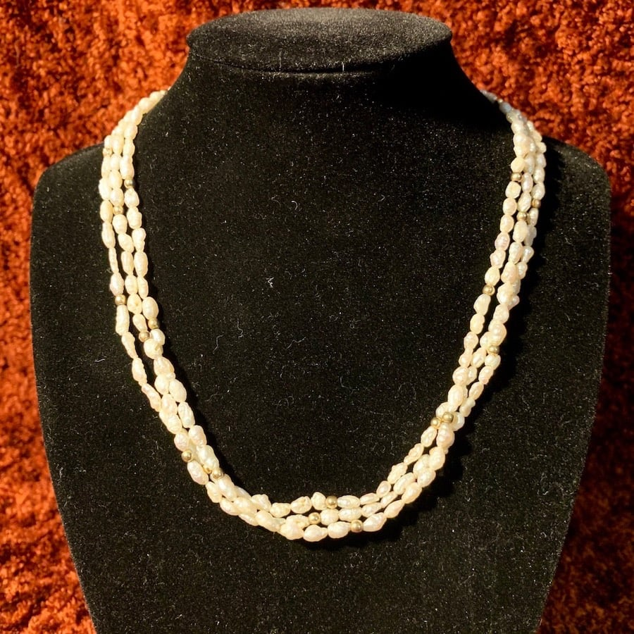 Genuine Pearl Necklace with 14k Gold Beads & Clasp 942d7223-b6b9-48ed-a9fb-d1b07de50436