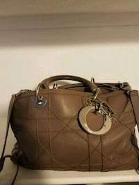 brown leather 2-way handbag Silver Spring