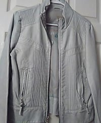 gray leather zip-up jacket