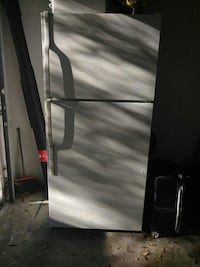 gray top-mount refrigerator