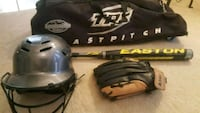 Softball bat with glove helmet and bag