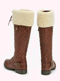 size 11 chocolate brown quilted/wool-lined boots