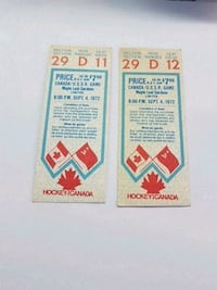 1972 Canada-Russia Series Game 2 Ticket Stubs Cambridge, N1S 4Z3