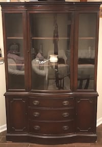 brown wooden framed glass display cabinet Falls Church, 22031