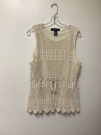 Women's DIALOGUE off-white crocheted sleeveless top w/ribbon tie… 1 X Manasquan, 08736