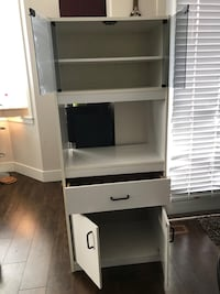 White cabinet pantry/microwave