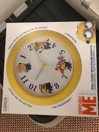 white and yellow Despicable Me Minion made analog wall clock box Hounslow, TW4 6AD