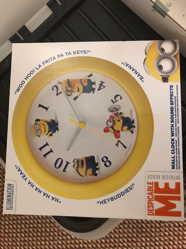 white and yellow Despicable Me Minion made analog wall clock box