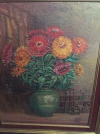 Vintage floral signed painting
