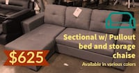 Sectional w/ Pullout bed and storage chaise  Dallas, 75211