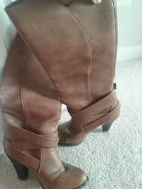 pair of brown leather knee-high boots Arlington, 22202