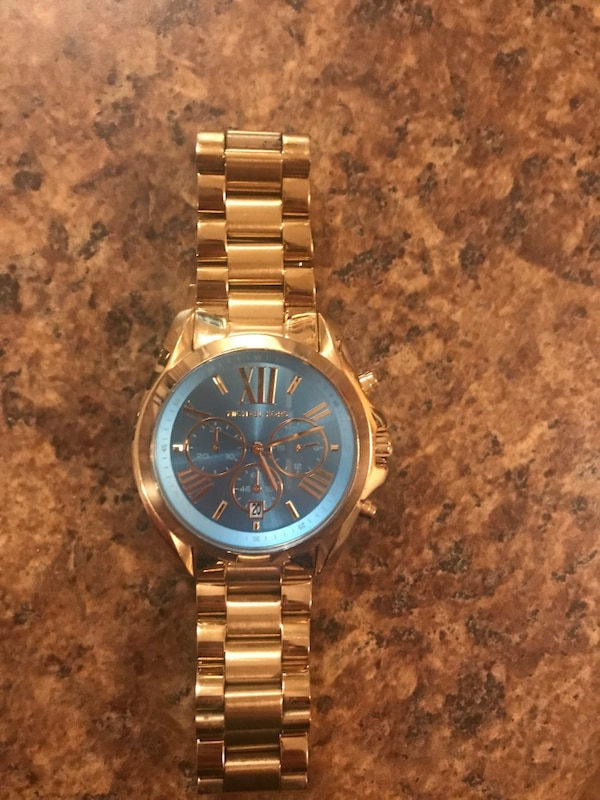 MK Round gold-colored chronograph watch with link bracelet